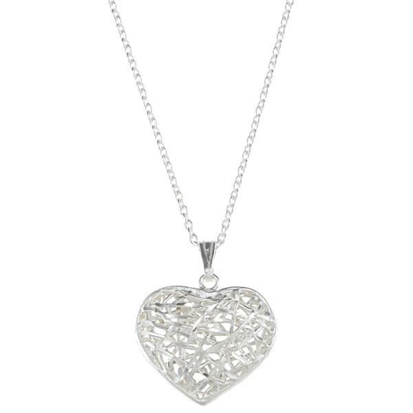 La Preciosa Sterling Silver Open Diamond Cut Heart Necklace