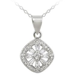 Icz Stonez Sterling Silver Cubic Zirconia Snowflake Necklace (1 1/5ct TGW)