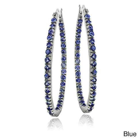b57d977d3 Icz Stonez Sterling Silver Cubic Zirconia Hoop Earrings (1 1/2ct TGW)