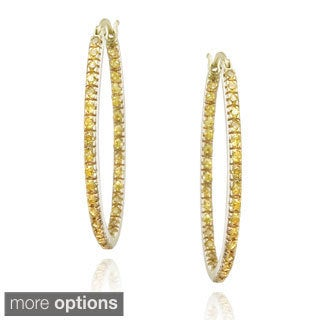 Icz Stonez Sterling Silver Cubic Zirconia Hoop Earrings (1 1/2ct TGW)