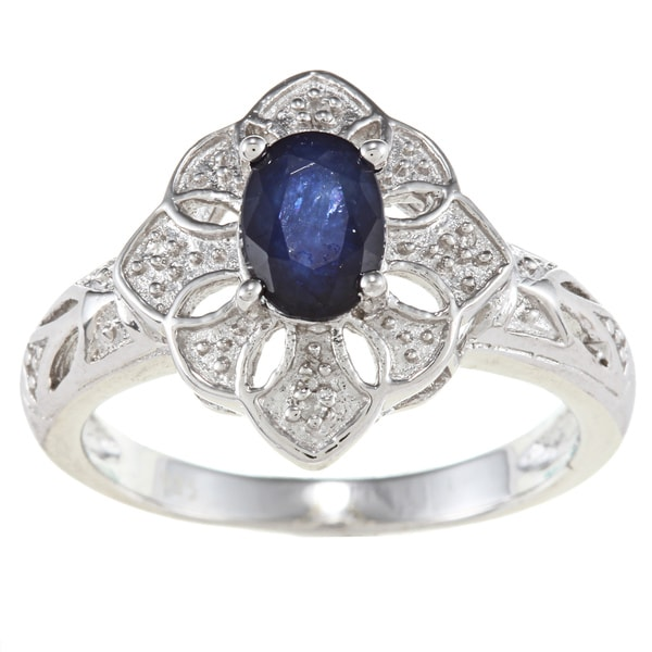 Viducci Sterling Silver Sapphire and Diamond Accent Ring