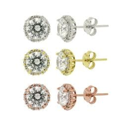 Icz Stonez Sterling Silver Cubic Zirconia Stud Earrings Set (9 1/2ct TGW) (Set of 3)