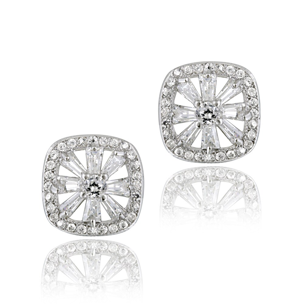 Icz Stonez Sterling Silver Cubic Zirconia Snowflake Earrings (2 3/8ct TGW) - Thumbnail 0