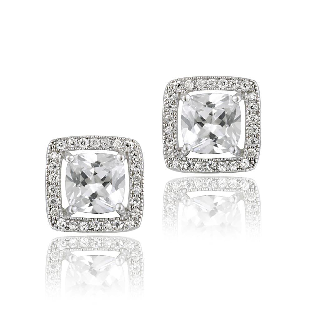 Icz Stonez Sterling Silver Cubic Zirconia Square Earrings (4 3/4ct TGW)