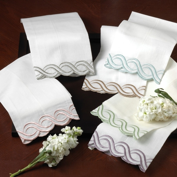 Embroidered-trim Hand and Bar Towels (Set of 4)