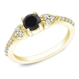 Auriya 14k Gold 2/3ct TDW Round Black and White Diamond Engagement Ring
