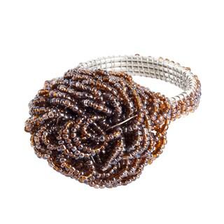 Saro Beaded Flower Napkin Rings (Set of 4) (Option: PEWTER)