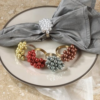 Metal Beaded Napkin Rings (Set of 4)