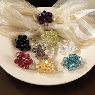 Saro Beaded Napkin Rings (Set of 4)