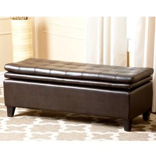 ABBYSON LIVING Hartford Bonded Leather Double Cushion Storage Ottoman
