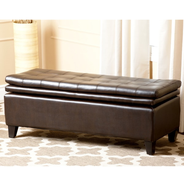 ABBYSON LIVING Hartford Bonded Leather Double Cushion Storage Ottoman