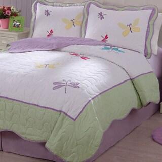 Dragonfly Applique Embellished 3-piece Quilt Set