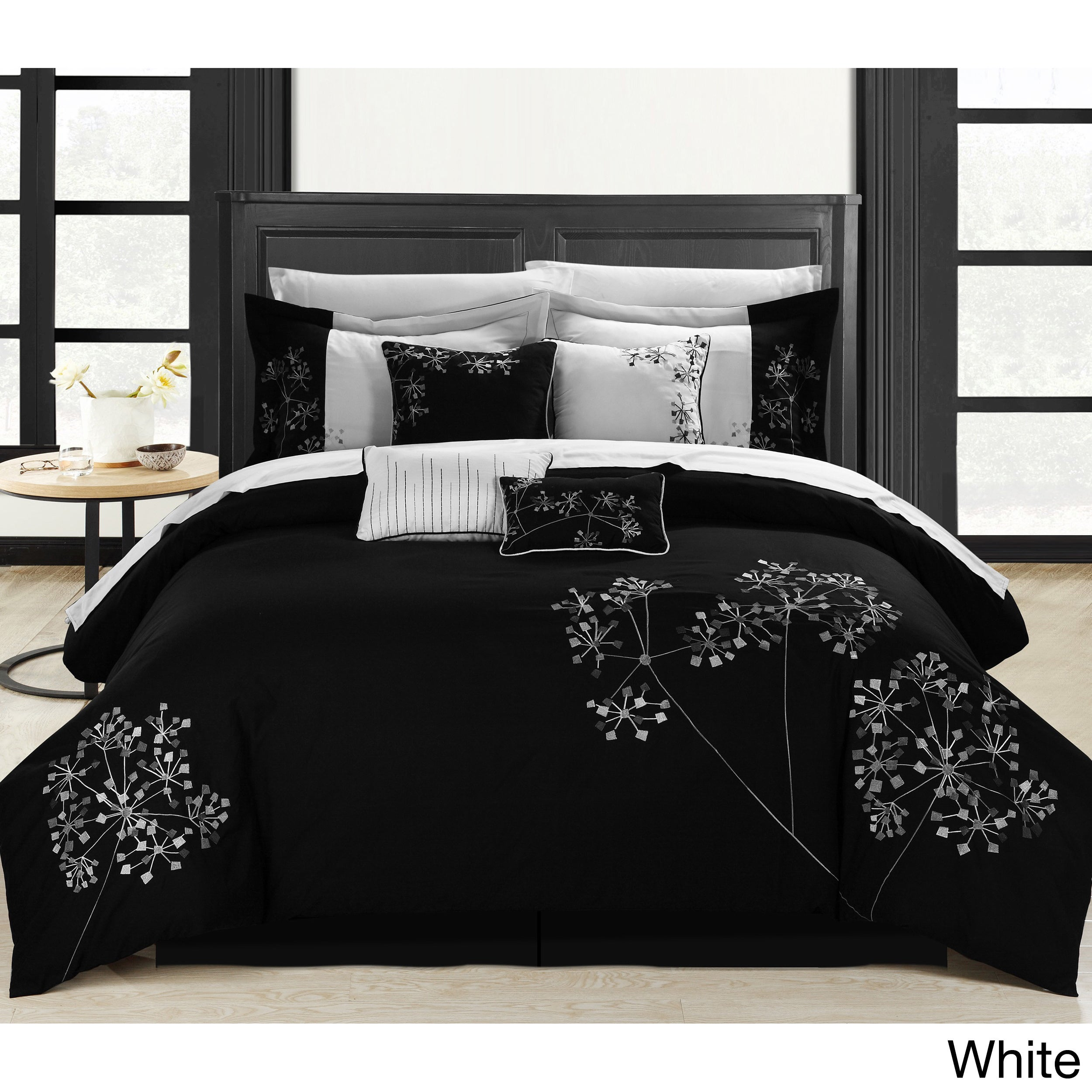 Chic Home Black Floral 8-piece Embroidered Comforter Set ...