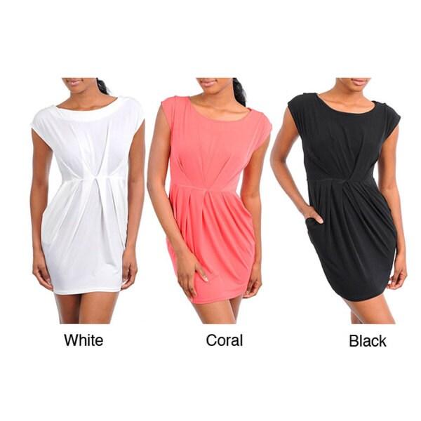 Stanzino Women's Cap-sleeve Gathered Waist Dress