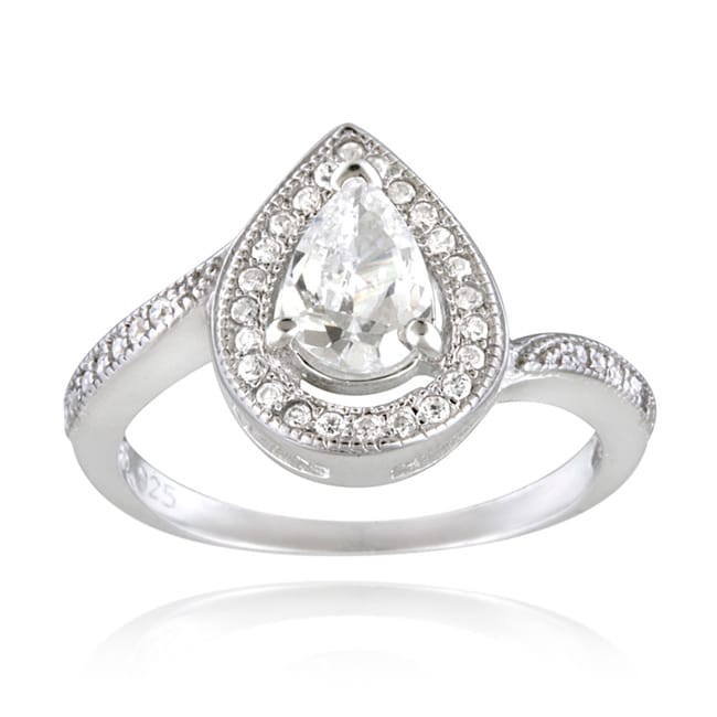 Icz Stonez Sterling Silver Cubic Zirconia Pear shaped Engagement