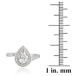 Icz Stonez Sterling Silver Cubic Zirconia Pear-shaped Engagement Ring (1 5/8ct TGW) - Thumbnail 2