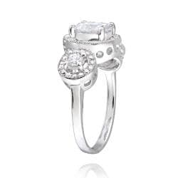 Icz Stonez Sterling Silver Cubic Zirconia 3-stone Engagement Ring (3 1/10ct TGW) - Thumbnail 1