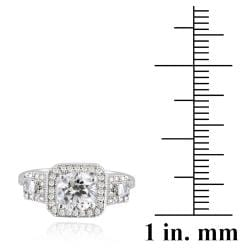 Icz Stonez Sterling Silver Cubic Zirconia Three Stone Engagement Ring (2 1/2ct TGW) - Thumbnail 2