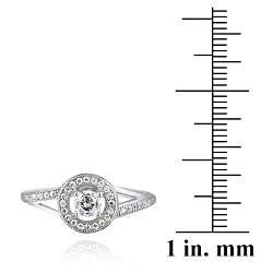 Icz Stonez Sterling Silver Cubic Zirconia Round Engagement Ring (7/8ct TGW) - Thumbnail 2