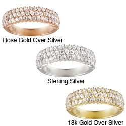 Icz Stonez Sterling Silver Cubic Zirconia Eternity Wedding Ring 3 4ct TGW