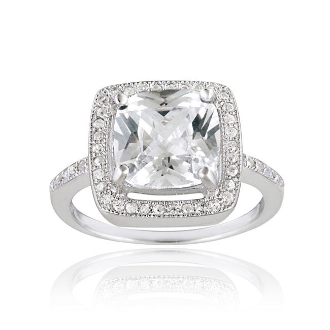 Icz Stonez Sterling Silver Cubic Zirconia Square Solitaire Engagement Ring (7 1/2ct TGW) - Thumbnail 0