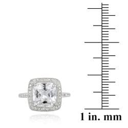 Icz Stonez Sterling Silver Cubic Zirconia Square Solitaire Engagement Ring (7 1/2ct TGW) - Thumbnail 2