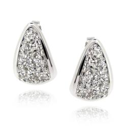 Icz Stonez Sterling Silver Clear Crystal Triangle endless Earrings