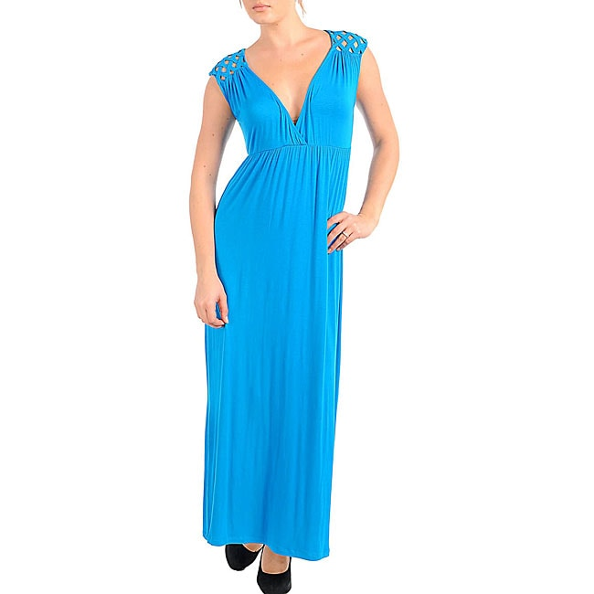 Stanzino Women's Turquoise V-neck Long Dress