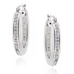 Icz Stonez Sterling Silver Clear Crystal Oval Hoop Earrings