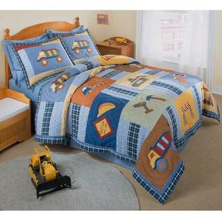 Construction Zone Applique Embellished 3-piece Quilt Set