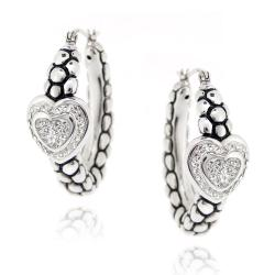 Icz Stonez Sterling Silver Clear Crystal Oval Heart On Hoop Earrings