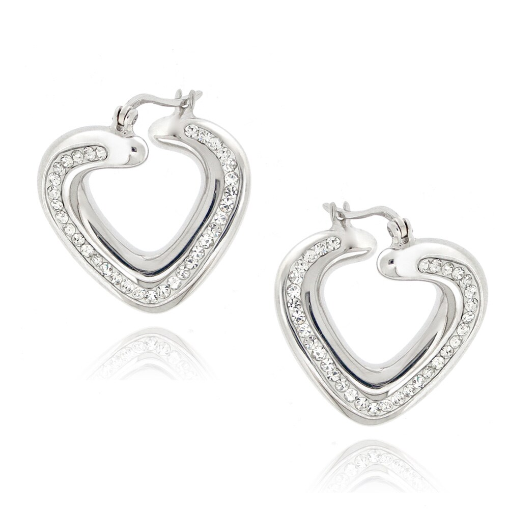 d0b7da53709e57 Shop Icz Stonez Sterling Silver Clear Crystal Twisted Heart Hoop Earrings -  On Sale - Free Shipping On Orders Over $45 - Overstock.com - 6774166