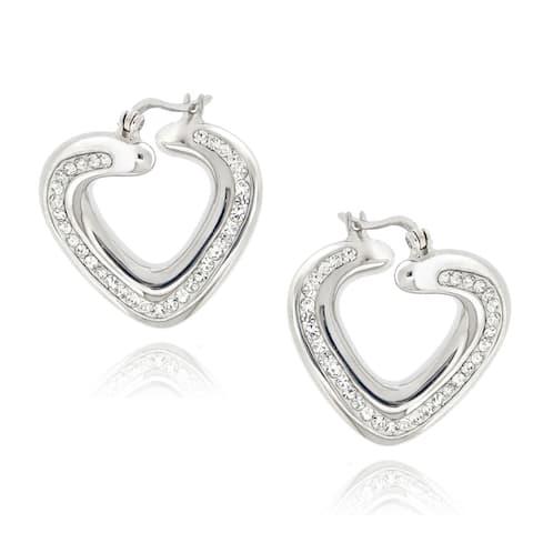 Icz Stonez Sterling Silver Clear Crystal Twisted Heart Hoop Earrings