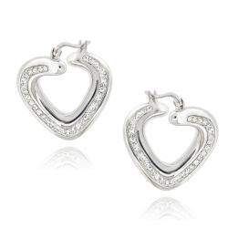 Icz Stonez Sterling Silver Clear Crystal Twisted Heart Hoop Earrings