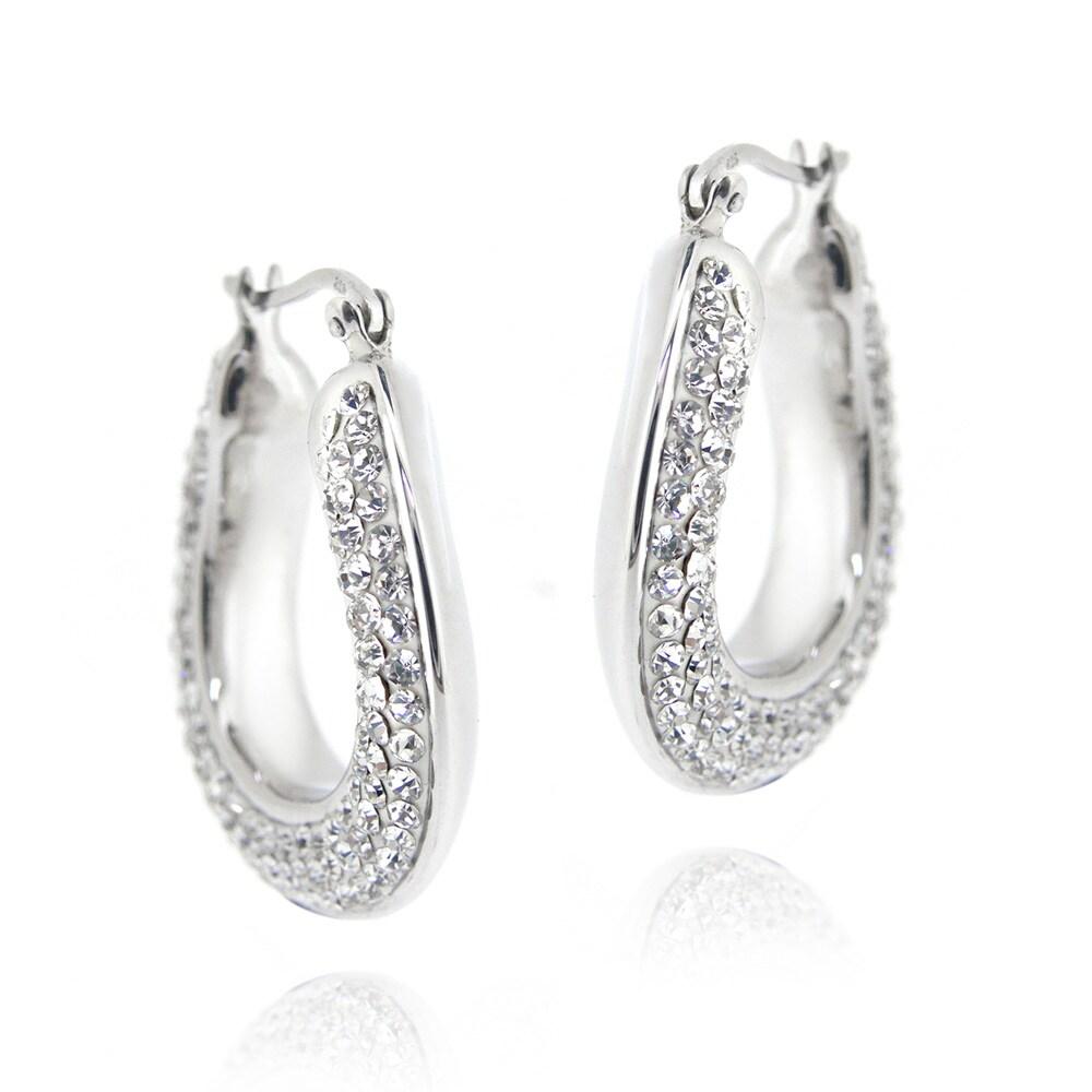 Icz Stonez Sterling Silver Clear Crystal Flat Hoop Earrings