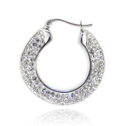 Icz Stonez Sterling Silver Clear Crystal Flat Hoop Earrings - Thumbnail 1