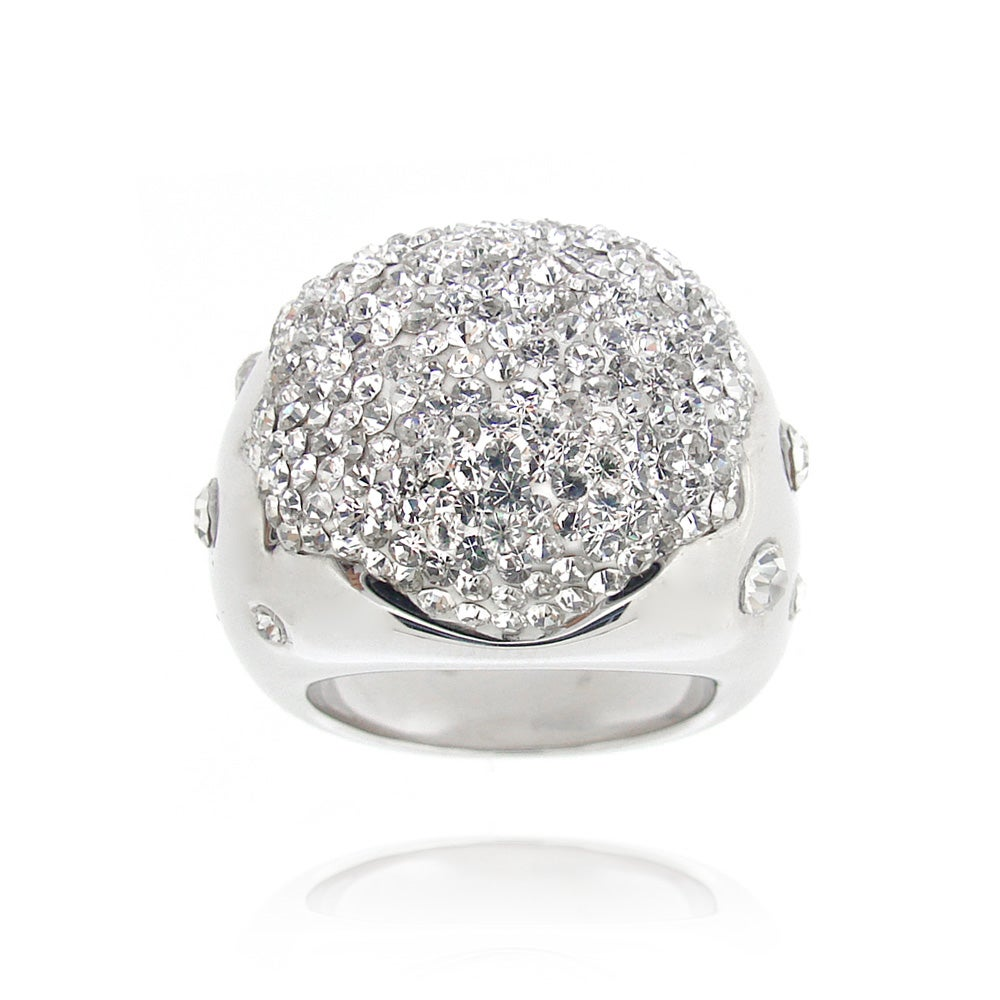 Icz Stonez Sterling Silver Clear Crystal Ball Ring