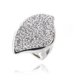 Icz Stonez Sterling Silver Clear Crystal Abstract Ring (3 options available)