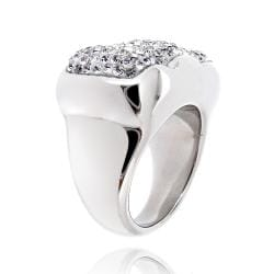 Icz Stonez Sterling Silver Clear Crystal Scalloped Ring - Thumbnail 1