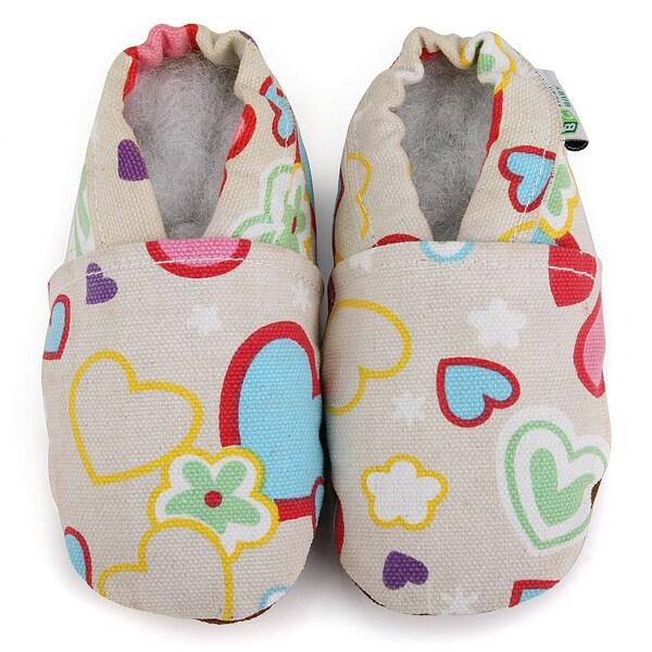Pastel Hearts Soft Sole Cotton Shoes