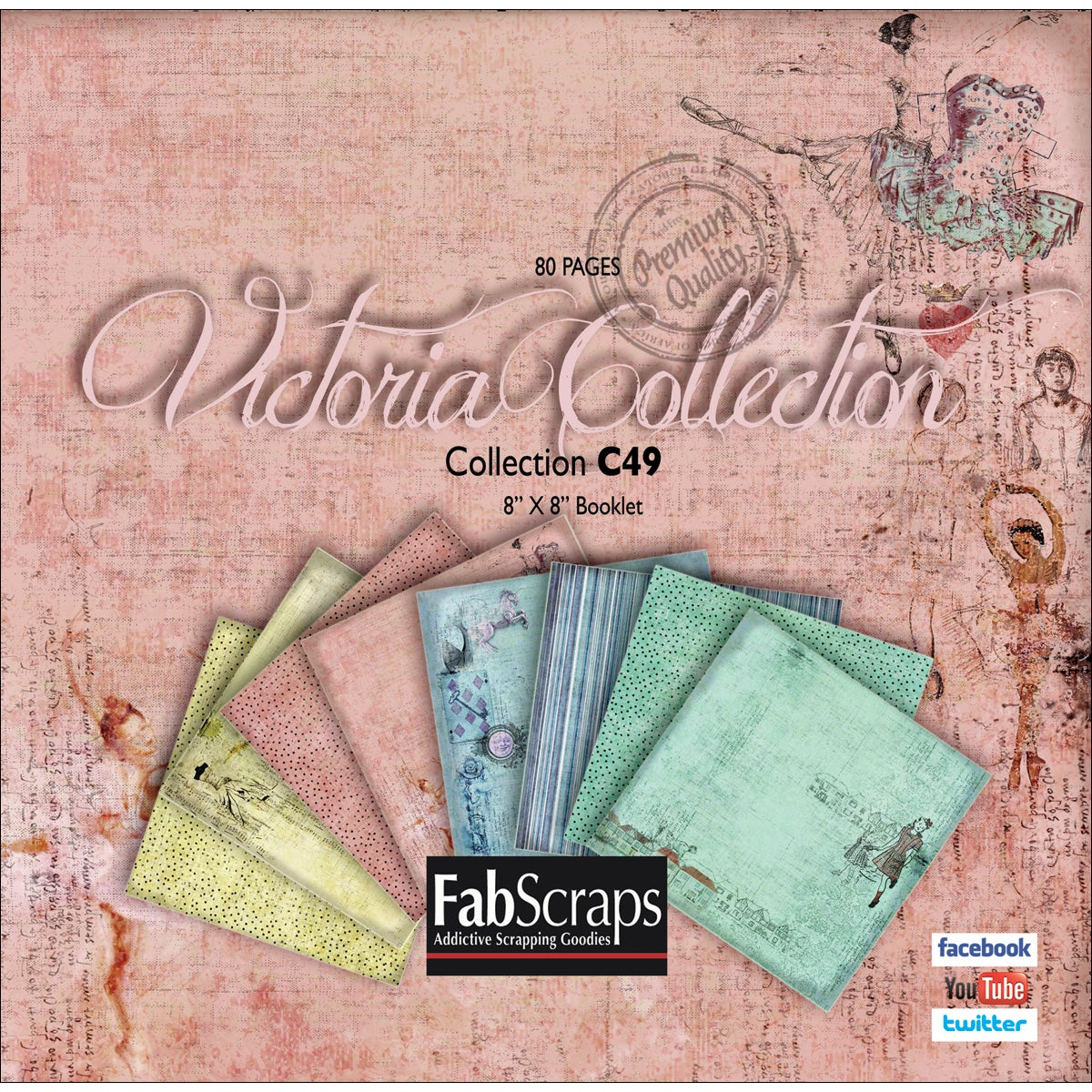 "Victoria Mini Paper Collection 8""X8"" Booklet-80 Single-Sided Sheets"