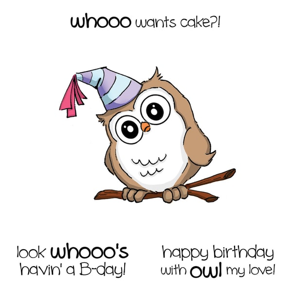 Art Impressions Hoot! Cling Rubber Stamp-Birthday Whoot Set