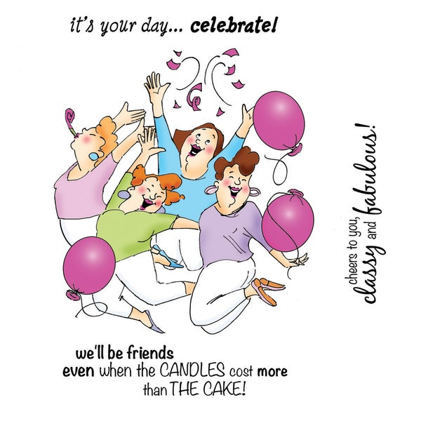 Art Impressions Girlfriends Cling Rubber Stamp-Party Girls Set