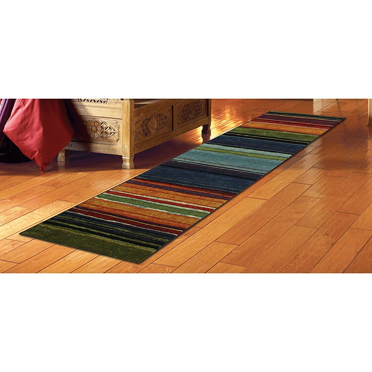 MOHAWK Home Striped Multicolor Runner Rug (2' x 8') (Rain...