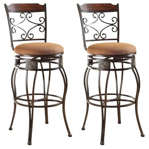 Swivel Light Brown Antique Goldtone Microfiber Metal Bar Chairs (Set of 2)