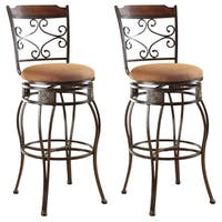 Swivel Light Brown Antique Goldtone Microfiber Metal Bar Chairs (Set of 2)