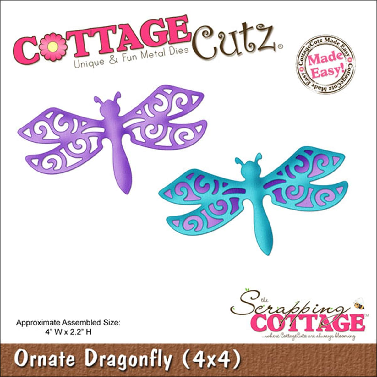"CottageCutz Die 4""X4""-Ornate Dragonfly Made Easy"