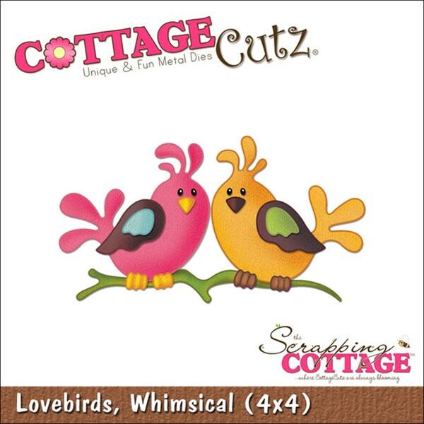 """CottageCutz Die 4""""X4""""-Lovebirds"""