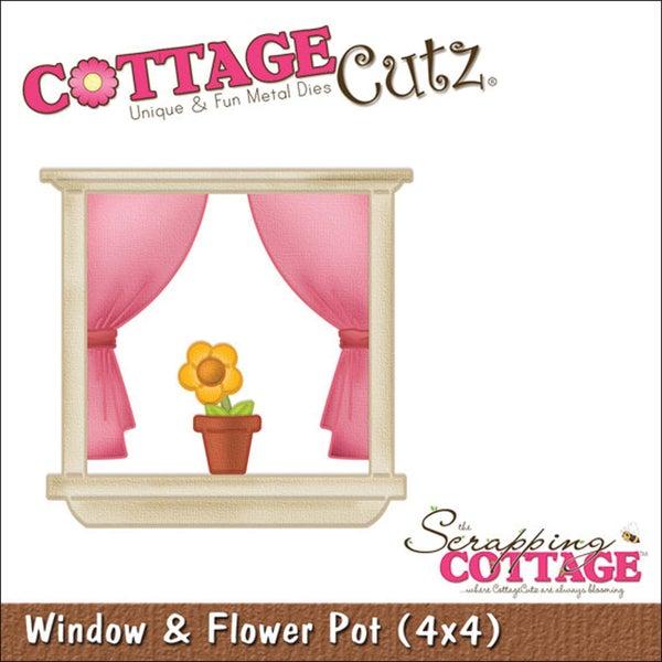 """CottageCutz Die 4""""X4""""-Window & Flower Pot"""