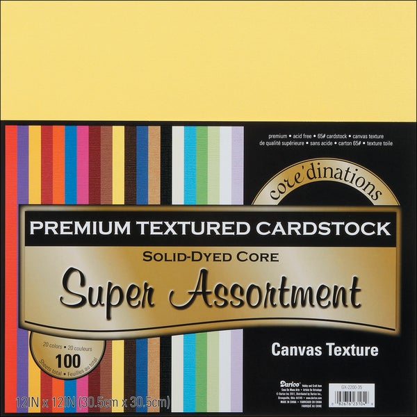 "Core'dinations Value Pack Cardstock 12""X12"" 20/Pkg-Super Assortment - Textured"